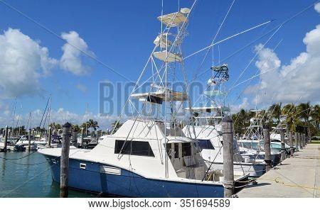 Charter Sports Fishing Boats Docked At A Marina On Key Biscayne,florida