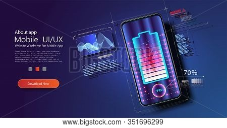 Futuristic Phone Is Charged Wirelessly On A Blue Background. Wireless Charging. Wireless Charging Of