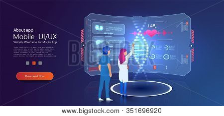 Medical Hologram Dna Laboratory Interior. Dna Nanotechnology Biochemistry And Human Genome. Can Use