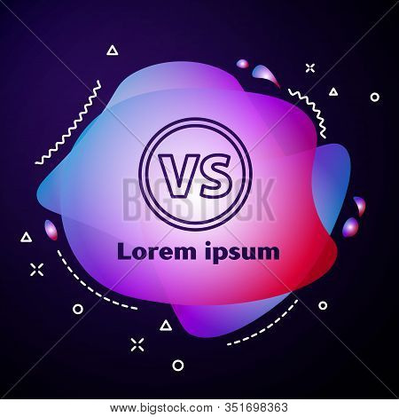 Purple Line Vs Versus Battle Icon Isolated On Blue Background. Competition Vs Match Game, Martial Ba