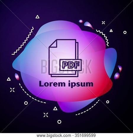 Purple Line Pdf File Document. Download Pdf Button Icon Isolated On Blue Background. Pdf File Symbol