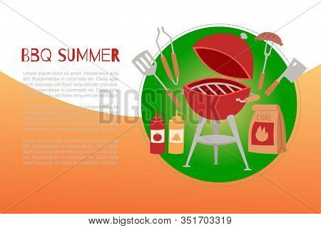 Bbq Summer Time Banner With Grill, Barbeque And Grilled Food Sausages, Kitchenware Vector Illustrati