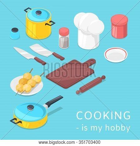 Cooking Utensils And Food Background Vector Cartoon Illustration. Pots, Pans, Vegetables, Baking Ute