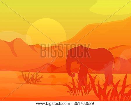 Savanna Elephant In Africa Travel Monochrome Vector Illutration. Wild Deserted Savanna With Silhoett