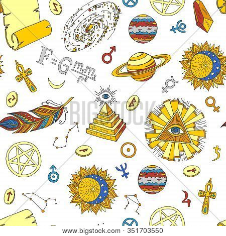 Esoteric Symbols And Occult Objects Seamless Vector Pattern. Cartoon Esotery Manuscript, Eye In Tria
