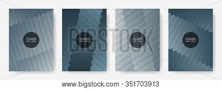 Zig Zag Lines Halftone Banner Templates Set, Vector Backgrounds For   Cover Layouts. Minimal Zig Zag