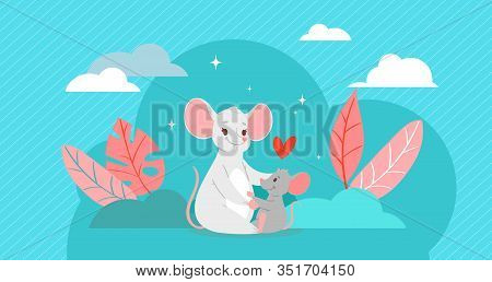 Happy Mother S Day Love Card With Mother Mouse Holding Her Son Baby Mouse Cartoon Animals Vector Ill