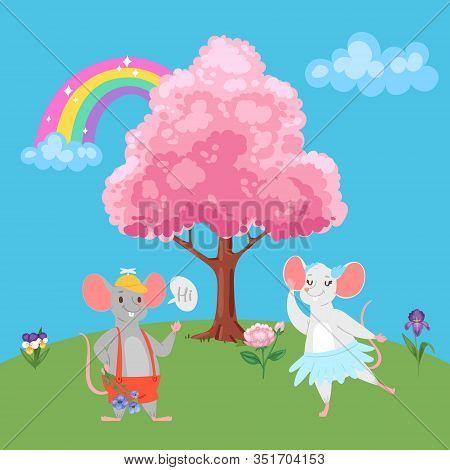 Valentine S Day Romantic Couple Of Lovely Mice In Love, Cartoon Animals Characters Boy Mouse, Love-t