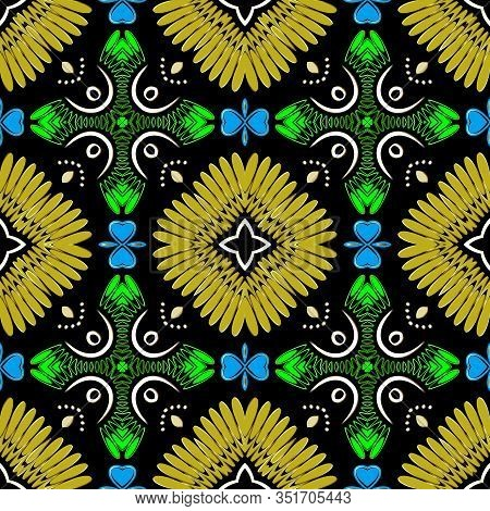 Colorful Ethnic Style Floral Seamless Pattern. Vector Bright Ornamental Background. Tribal Repeat Ba