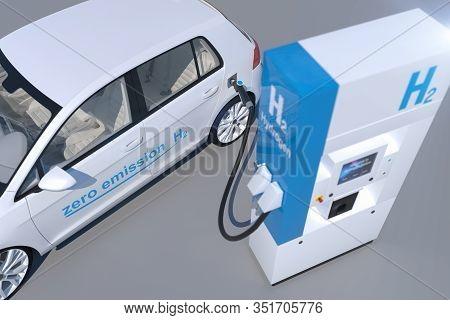 Hydrogen Logo On Gas Station. H2 Combustion Engine For Emission Free Ecofriendly Transport.