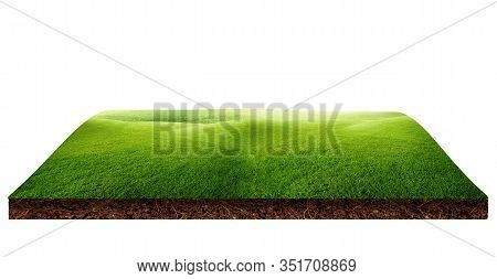 Green Grass Natural Meadow Field And Little Hill On Brown Ground Isolated On White Background.