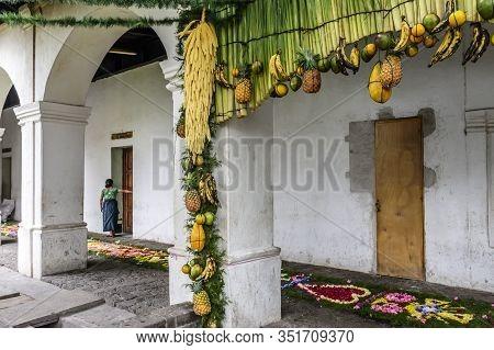 Santiago Atitlan, Guatemala -  April 18, 2019: Holy Thursday Procession Carpet & Hanging Adornments