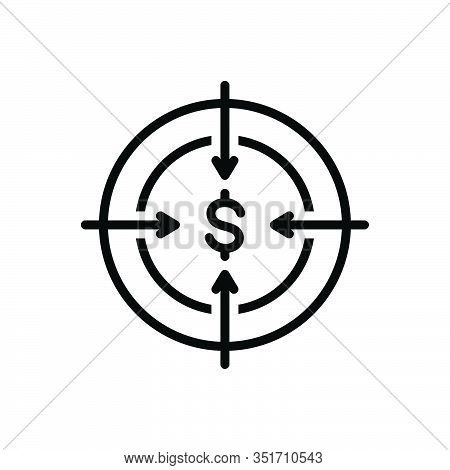 Black Line Icon For Target Ambition Intention Bullseye Dartboard Challenge Goal Aspirations Accuracy