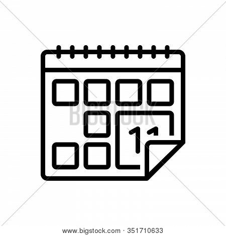 Black Line Icon For Calendar Almanac Chronology Agenda Appointment Schedule Reminder Month