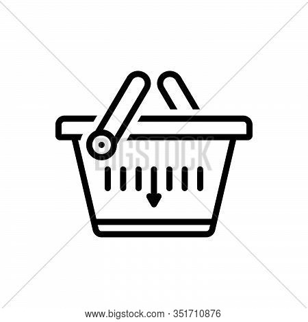 Black Line Icon For Shopping-basket Merchandise Basket Buying Commerce Grocery Trolly Purchase Store