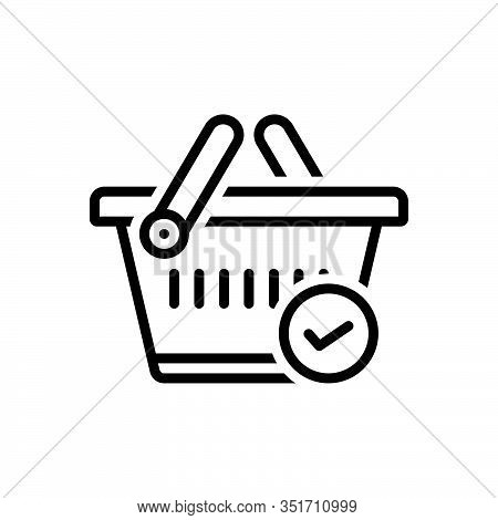 Black Line Icon For Tie Checked Merchandise Basket Buying Commerce Grocery Trolly Purchase Store Sup