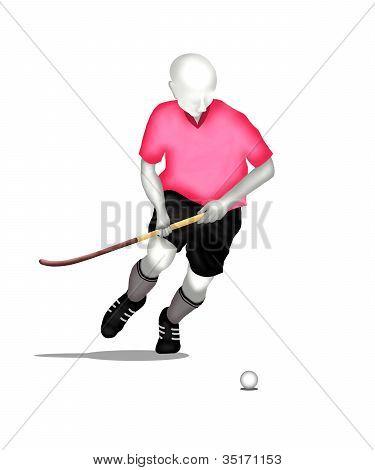 Field hockey : Hockey Player Running and Hits A Ball.