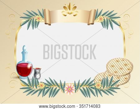 Vintage floral frame for Jewish Holiday Passover greeting card decoration and place for text with decorative traditional icons kiddush cup, four wine glass, matzo matzah - jewish traditional bread for Passover seder, pesach plate, candles, Haggadah, paper