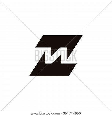 Letter Zn Symbol Geometric Arrow Logo Vector