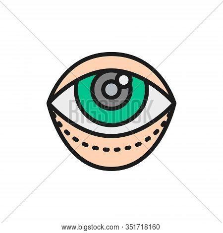 Blepharoplasty, Eyelid Plastic Surgery Flat Color Line Icon.