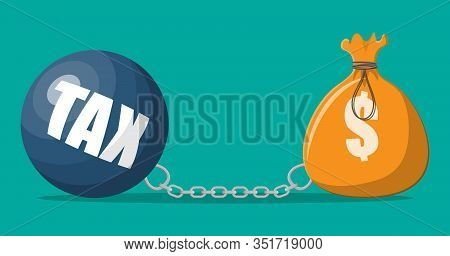 Huge Tax Burden Concept. Cloth Bag With Dollar Sign. Money Sack And Weight Ball. Tax, Debt, Fee, Cri