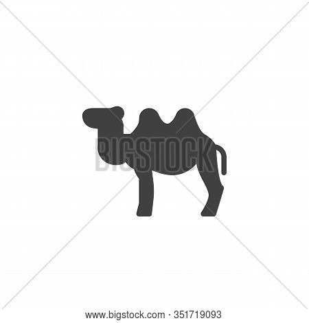 Bactrian Camel Vector Icon. Filled Flat Sign For Mobile Concept And Web Design. Two-humped Camel Gly