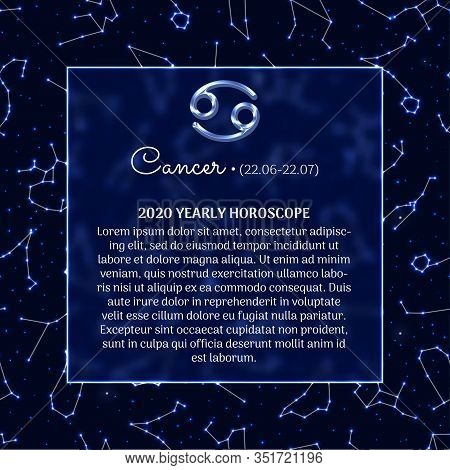 Cancer Astrology Horoscope Prediction For 2020 Year. Luminous Zodiac Signs On Blue Background. Cance