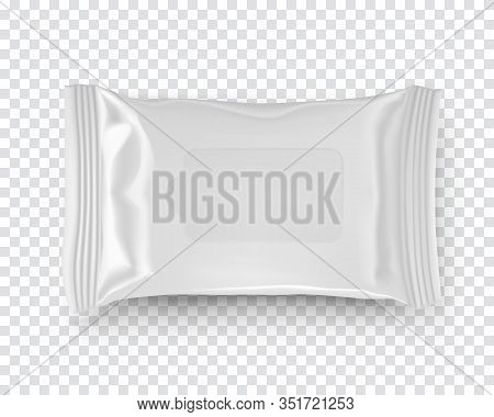 Realistic Mockup Of Wet Wipes Tissues Pack Isolated On Transparent Background. White Plastic Contain