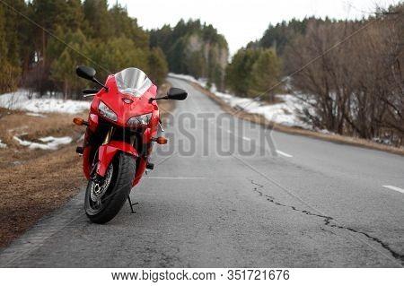 Krasnoyarsk, Russia - March 16, 2019: Red And Black Sportbike Honda Cbr 600 Rr 2005 Pc37.