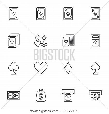 Casino Gambling Line Icons Set. Linear Style Symbols Collection, Outline Signs Pack. Vector Graphics