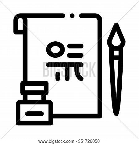 Korean Hieroglyph Icon Vector. Outline Korean Hieroglyph Sign. Isolated Contour Symbol Illustration