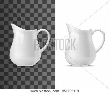 Creamer Or Milk Pot Vector Templates Of White Ceramic Tableware. 3d Porcelain Jug, Pitcher, Coffee O