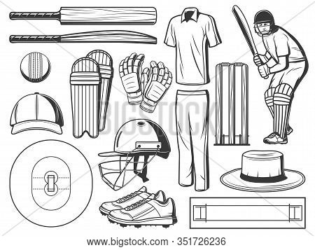 Cricket Sport Game Icons With Vector Ball, Bats And Wicket, Batsman Player, Helmet And Team Uniform,