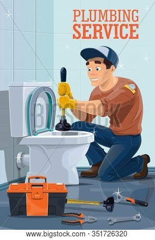 Plumbing Service Vector Design With Plumber And Work Repair Tools. Handyman Unclogging Toilet With P