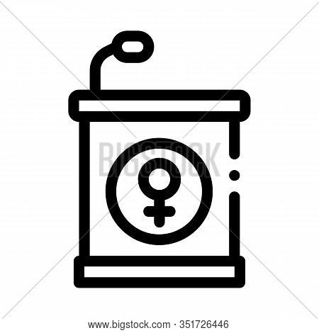 Pedestal Mike Icon Vector. Outline Pedestal Mike Sign. Isolated Contour Symbol Illustration