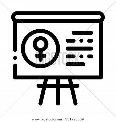 Blackboard Female Icon Vector. Outline Blackboard Female Sign. Isolated Contour Symbol Illustration