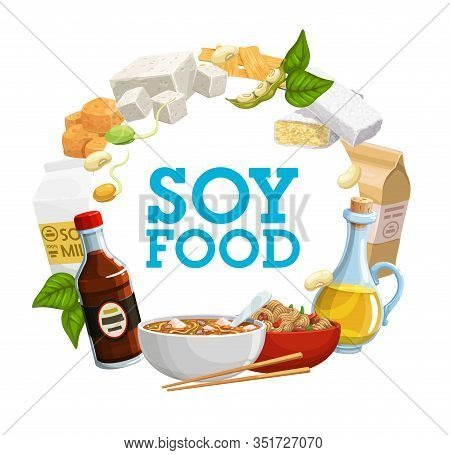 Soy Food Icon Of Soya Bean Products Vector Design. Soybean Milk, Oil And Sauce, Tofu, Tempeh And Mis