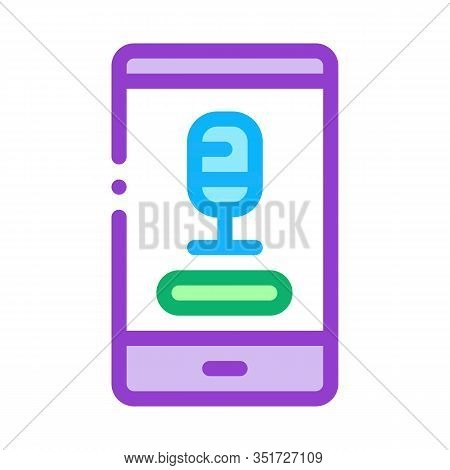 Phone Recording Icon Vector. Outline Phone Recording Sign. Isolated Contour Symbol Illustration