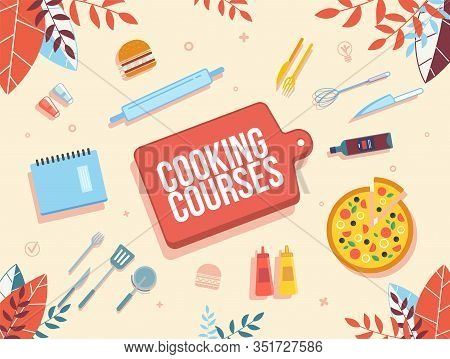 Cooking Online Courses, Culinary Internet School, Modern Gastronomy Classes Advertising Banner. Slic