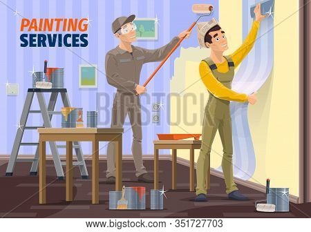 Painting And Wallpapering Service Vector Design Of Interior Design And Home Renovation. House Painte