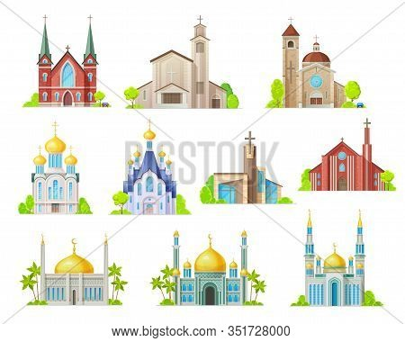 Religion Building Vector Icons With Churches, Temples And Mosques, Synagogue, Cathedral And Monaster