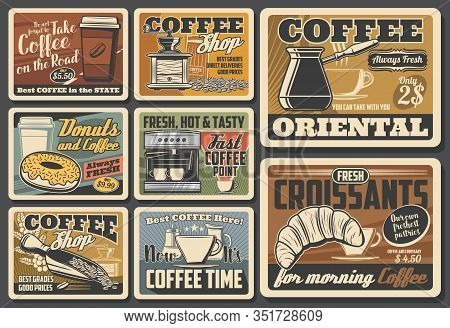 Coffee Cups, Pots And Espresso Machine, Roasted Beans, Grinder And Croissant, Cappuccino, Latte And