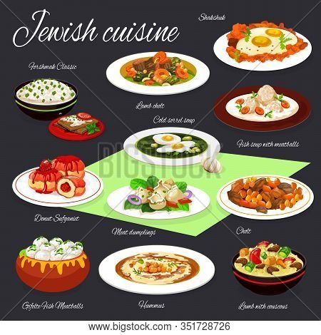 Jewish Cuisine Vector Design Of Hummus, Eggs With Vegetables, Meat And Chickpea Stew, Forshmak, Gefi