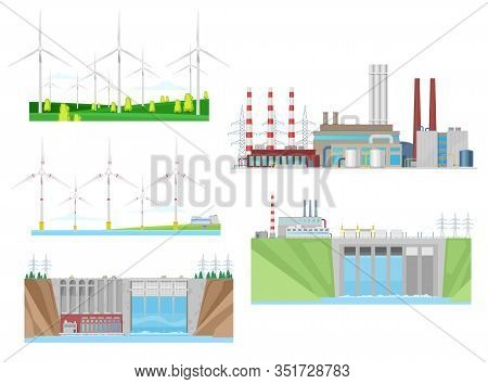 Power Plants Of Wind, Water And Thermal Energy Generation Vector Icons Of Electricity Industry Desig