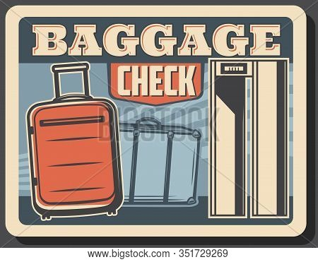 Baggage Or Luggage Check Vector Design Of Airport Security Checkpoint Conveyor Belt With Bags, Suitc