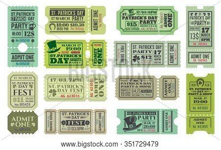 St Patricks Day Party Ticket Vector Templates Of Irish Pub Religious Holiday Celebration. Admit One