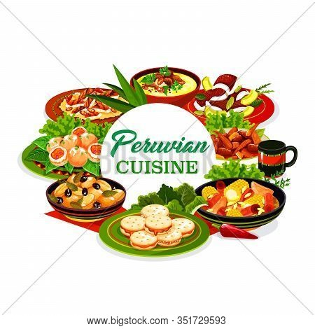 Peruvian Cuisine Meat And Vegetable Dishes With Fish Ceviche And Dessert Vector Icon. Corn Beef Stew