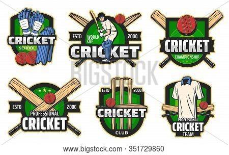 Cricket Sport Game Vector Badges With Balls, Bats And Wickets, Batsman Player, Helmet And Team Unifo