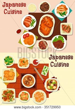 Japanese Cuisine Meat Dishes With Vegetables And Asian . Vector Soups And Stews With Mushroom And Eg