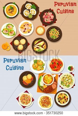 Peruvian Food Of Seafood And Fish Ceviche With Vegetable, Meat And Dessert Dishes. Vector Beef Corn
